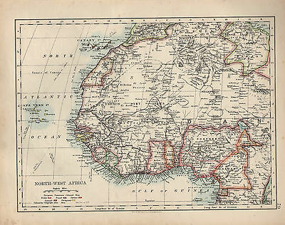 1909 Map ~ North-West Africa ~ Sudan Canary Islands Algeria ~