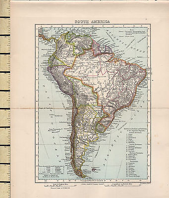 c1880 VICTORIAN MAP ~ SOUTH AMERICA ~ WITH ARGENTINE REPUBLIC PROVINCES