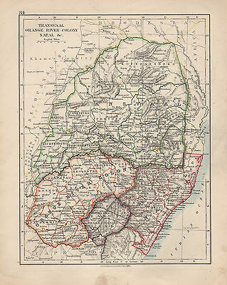 1909 MAP ~ AFRICA ~ TRANSVAAL ORANGE RIVER COLONY NATAL etc
