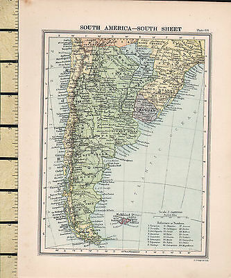 c1880 VICTORIAN MAP ~ SOUTH AMERICA ~ SOUTH SHEET