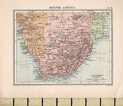 c1880 VICTORIAN MAP ~ SOUTH AFRICA ~ CAPE COLONY TRANSVAAL