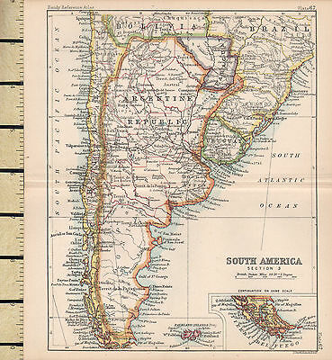 c1880 VICTORIAN MAP ~ SOUTHERN SOUTH AMERICA ~ FALKLAND ISLANDS ARGENTINE