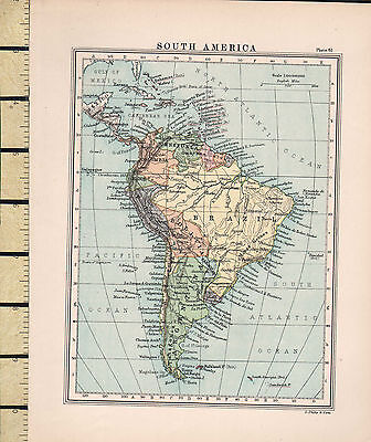 c1880 VICTORIAN MAP ~ SOUTH AMERICA ~