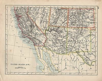 1909 MAP ~ United States South West ~ California Arizona New ...
