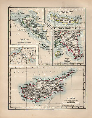 1897 Victorian Map ~ Cyprus Corfu Crete ~ Environs Of Athens