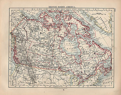 1897 Victorian Map ~ British North America ~ Dominion Of Canada ~