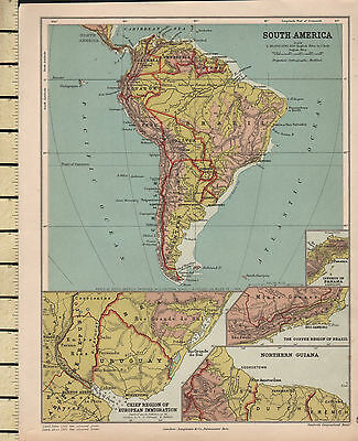 c1880 VICTORIAN MAP ~ SOUTH AMERICA PHYSICAL ~ INSET NORTHERN GUIANA URUGUAY