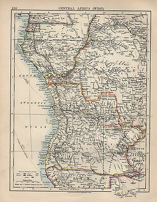 1897 Victorian Map ~ Central Africa West ~ Showing European Possessions