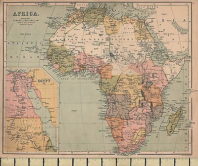 c1860 VICTORIAN MAP ~ AFRICA ~ INSET EGYPT
