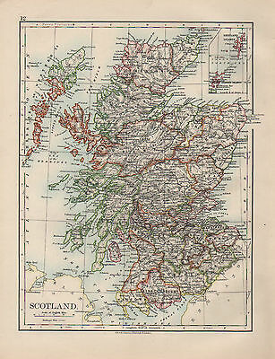 1899 Victorian Map ~ Scotland ~ Inset Orkney & Shetland Islands