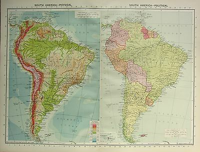 1934 LARGE MAP ~ SOUTH AMERICA ~ WITH PHYSICAL ~ BRAZIL PERU ARGENTINA CHILE etc