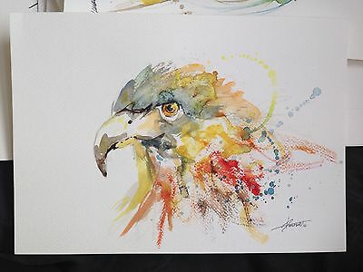 EAGLE ORIGINAL SIGNED WATERCOLOUR PAINTING LARGE ABSTRACT not a print a4