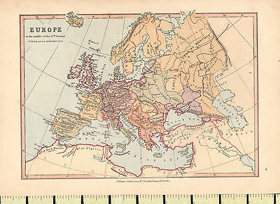 c1880 MAP ~ EUROPE 16th CENTURY ~ ENGLAND FRANCE GERMANY DENMARK SPAIN