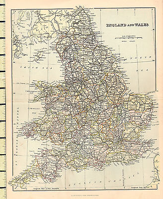 c1880 MAP ~ ENGLAND & WALES ~ DEVON DORSET YORK NORFOLK OXFORD SUFFOLK