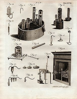 1797 Georgian Print ~ Gas Production Equipment Apparatus  Experiments Fireplace