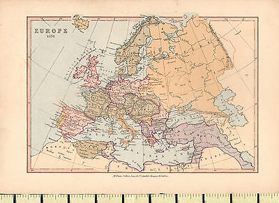 c1880 MAP ~ EUROPE ~ 1878 ~ SPAIN FRANCE ITALY ENGLAND DENMARK SWEDEN ~