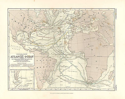 1850 Hand Coloured Map ~ Atlantic Ocean Navigation & Trade Routes Currents
