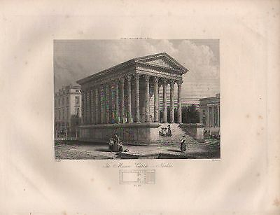 1890 Victorian Print ~ The Maison Carree Nimes With Plan