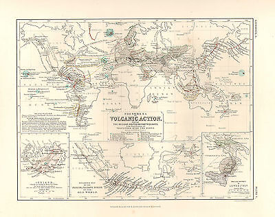 1850 Hand Coloured Map ~ Volcanoes Volcanic Action & Earthquakes
