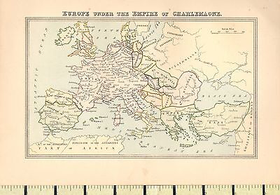 c1880 MAP ~ EUROPE UNDER THE EMPIRE OF CHARLEMAGNE
