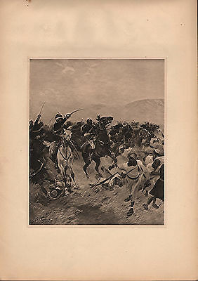 Antique Military Print ~ Battle Of Futtehabad (1879) ~ Martini-Henry Cavalry
