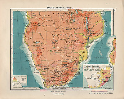 1924 Print ~ South Africa Physical ~ Inset Density Of Native Population