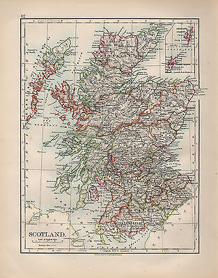 1899 Victorian Map ~ Scotland ~ Inset Shetland Orkney Islands