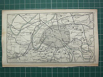 1904 Small Map ~ France ~ Paris City Plan Environs Stations Forts