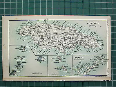 1904 Small Map ~ Jamaica Cornwall Middlesex Surrey ~ Bermudas Barbadoes