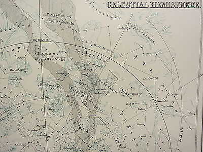 1897 Large Map Astronomy Northern & Southern Celestial Hemisphere Constellations