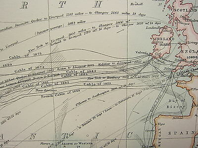1897 Large Victorian Map ~ Atlantic Ocean Communications Pacific Europe America