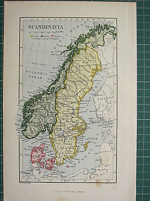 c1890 ANTIQUE MAP ~ SCANDINAVIA ~ SWEDEN NORWAY & DENMARK GOTLAND