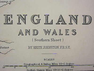 1873 Large Victorian Map England & Wales Southern Sheet ~ Devon Cornwall Channel