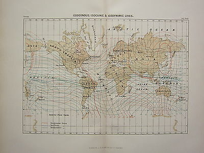 c1890 ANTIQUE MAP ~ THE WORLD ISOGONOUS ISOCLINIC ISODYNAMIC LINES OCEANIA