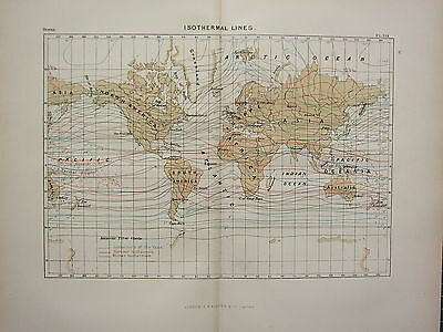 c1890 ANTIQUE MAP ~ THE WORLD ISOTHERMAL LINES SUMMER & WINTER ANNUAL OCEAN