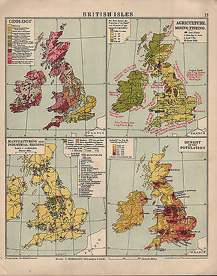 1935 Map ~ British Isles Geology Agriculture Industrial Population Density