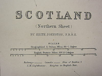 1873 Large Victorian Map ~ Scotland Northern Sheet Inverness Orkney Shetland