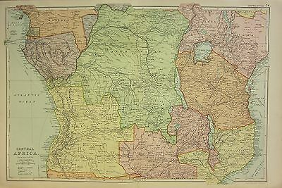 1912 Large Antique Map ~ Central Africa ~ Angola Congo State Uganda Nyasaland