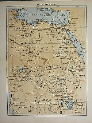 c1890 ANTIQUE MAP ~ NORTH EAST AFRICA ~ TRIPOLI FEZZAN SAHARA GREAT DESERT EGYPT