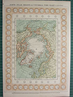 1900 Large Victorian Map ~ North Polar Regions Universal Time Chart Greenland
