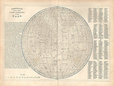 1848 ASTRONOMY PRINT ~ SELENOGRAPHIC MOON SURFACE HEMISPHERE MAP TABLE of NAMES