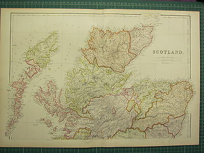 1882 Large Antique Map ~ Scotland North Sheet ~ Sutherland Inverness Aberdeen