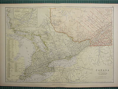 1882 Large Antique Map ~ Canada Province Of Ontario With Quebec Montreal