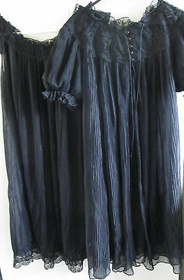 Vintage Black Night Gown & Jacket Dressing Robe Cover Nylocharme Set Size SSW