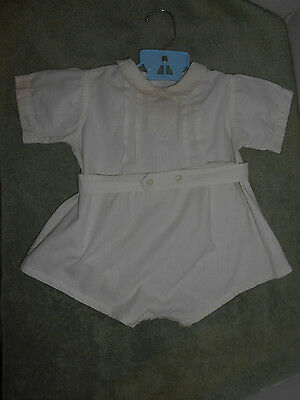 Vintage Baby Romper Onsie 1940's Cute Doll Outfit Embroidered White