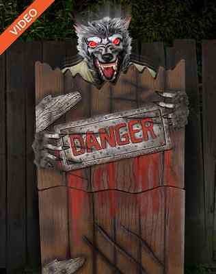 spirit halloween pop up werewolf animated animatronic prop with light sound