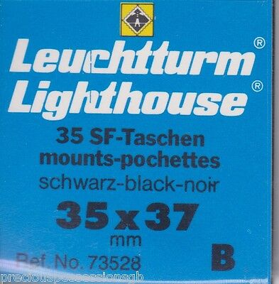 LIGHTHOUSE BLACK Stamp Mounts CUT TO SIZE 35mm x 37mm 35/37 Full pack 35 PIECES