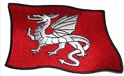 Saxon White Dragon flag iron or sew on badge embroidered  ENGLAND PATCH.