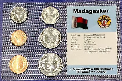 Madagascar 5-50 fr/ariary 1992-96 XF UNC Circulation Coin Set - World Currencies