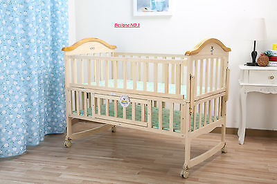 New Baby Child Classic Wood Cot Junior Bed 2 In One Bed Good Quality
